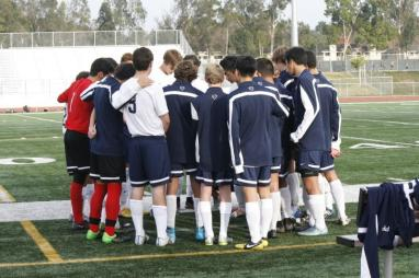 The team huddles prior to a 3-0 win against Sage Hill. (Danya Clein)