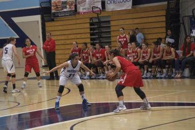 Point guard Marina Iranmanesh (Sr.) positions herself to defend against Mater Dei. (Alex Novakovic)