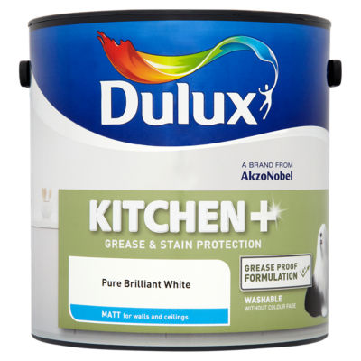 Dulux Kitchen Plus Pure Brilliant White Matt Emulsion Paint ASDA