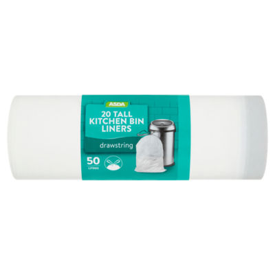 tall kitchen bin discount cabinets grand rapids mi asda drawstring liners 50 litres groceries