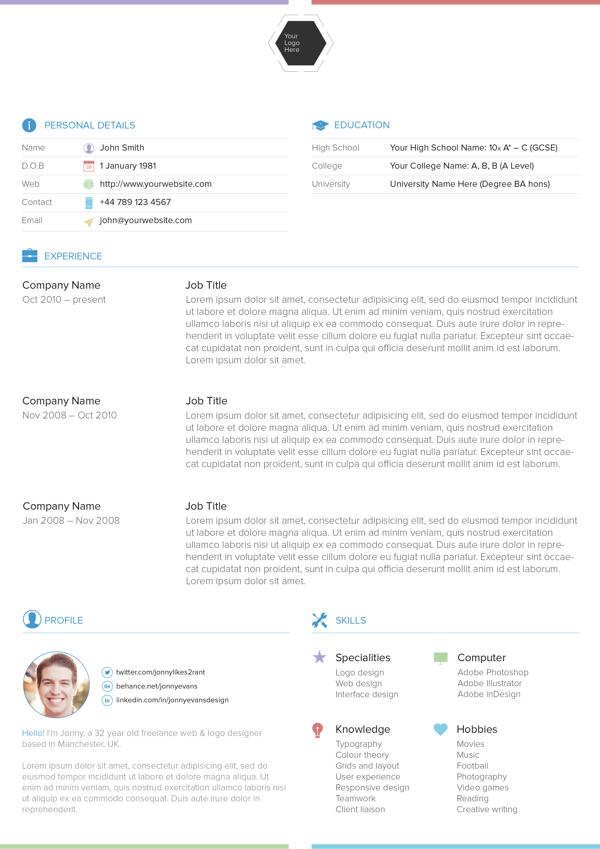 25 Best Free Professional CV (Resume) Templates 2014