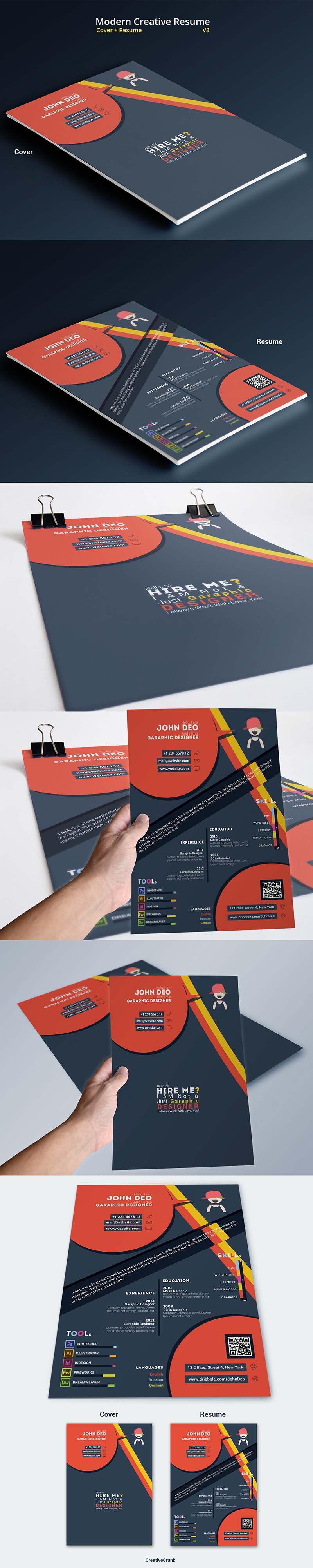 10 Free Resume-CV Templates Designs For Creative, Media, IT, Web and ...