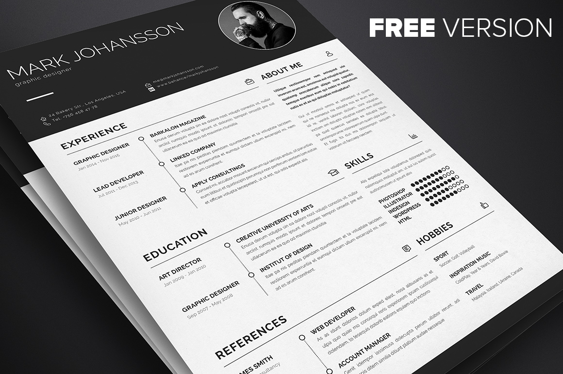 1- Free Clean Indesign Resume Template For Graphic Designers