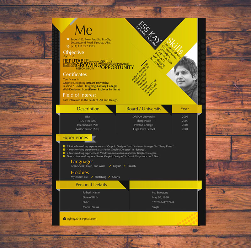 10 Free Simple & Clean Resume-CV Templates You Would Love to Download
