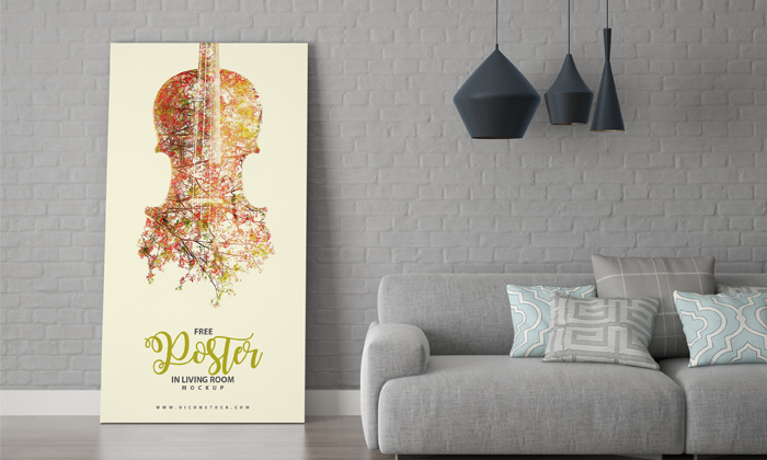 Free Poster In Living Room Mockup A Graphic World