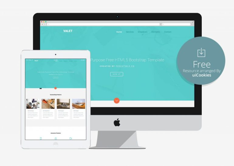 Valet - Material Desing Bootstrap Free Template