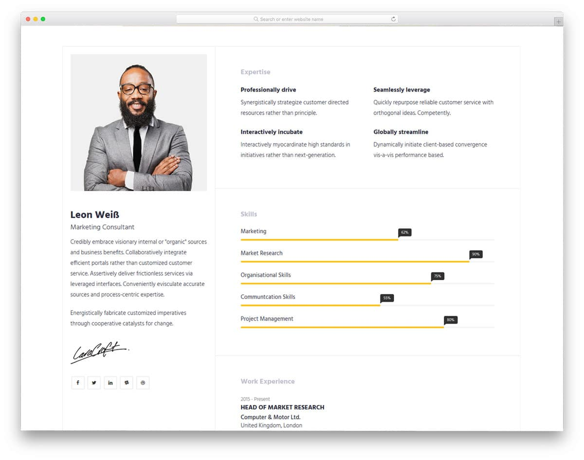 27 Free Bootstrap Resume Templates For Effective Job