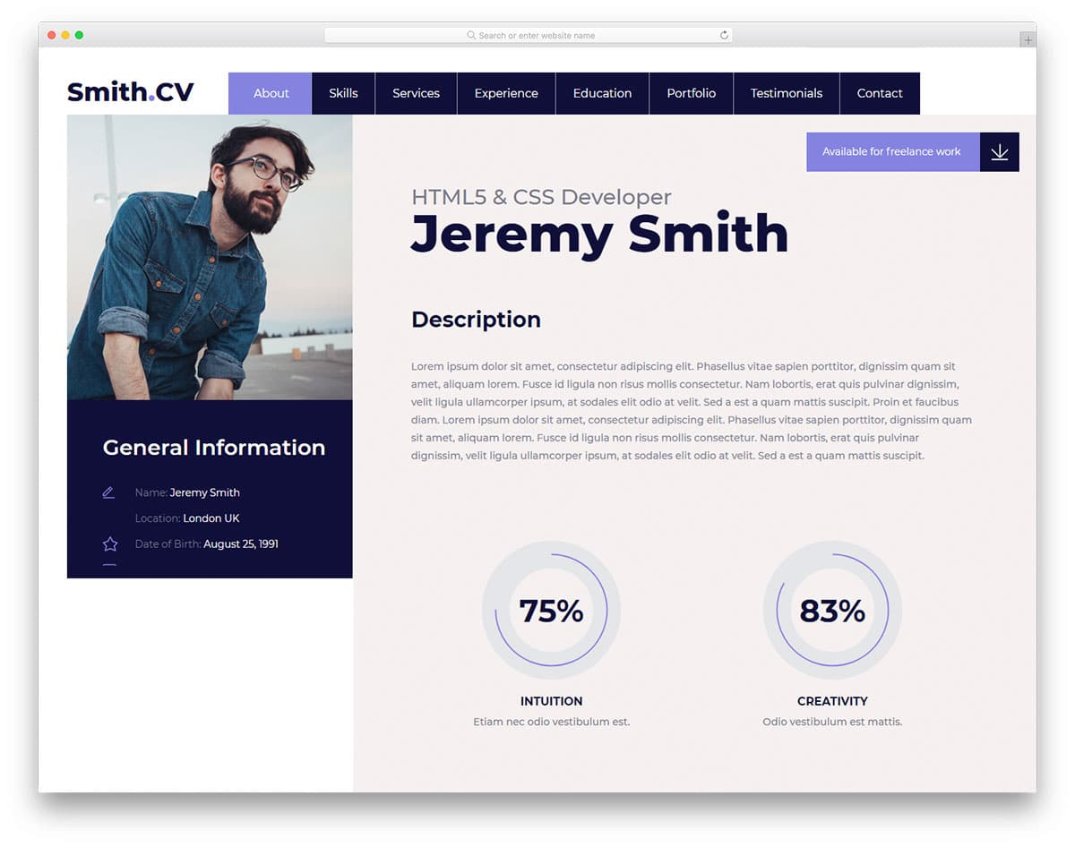 Pages Templates Resume 31 Free Bootstrap Resume Templates For Effective Job Hunting 2019
