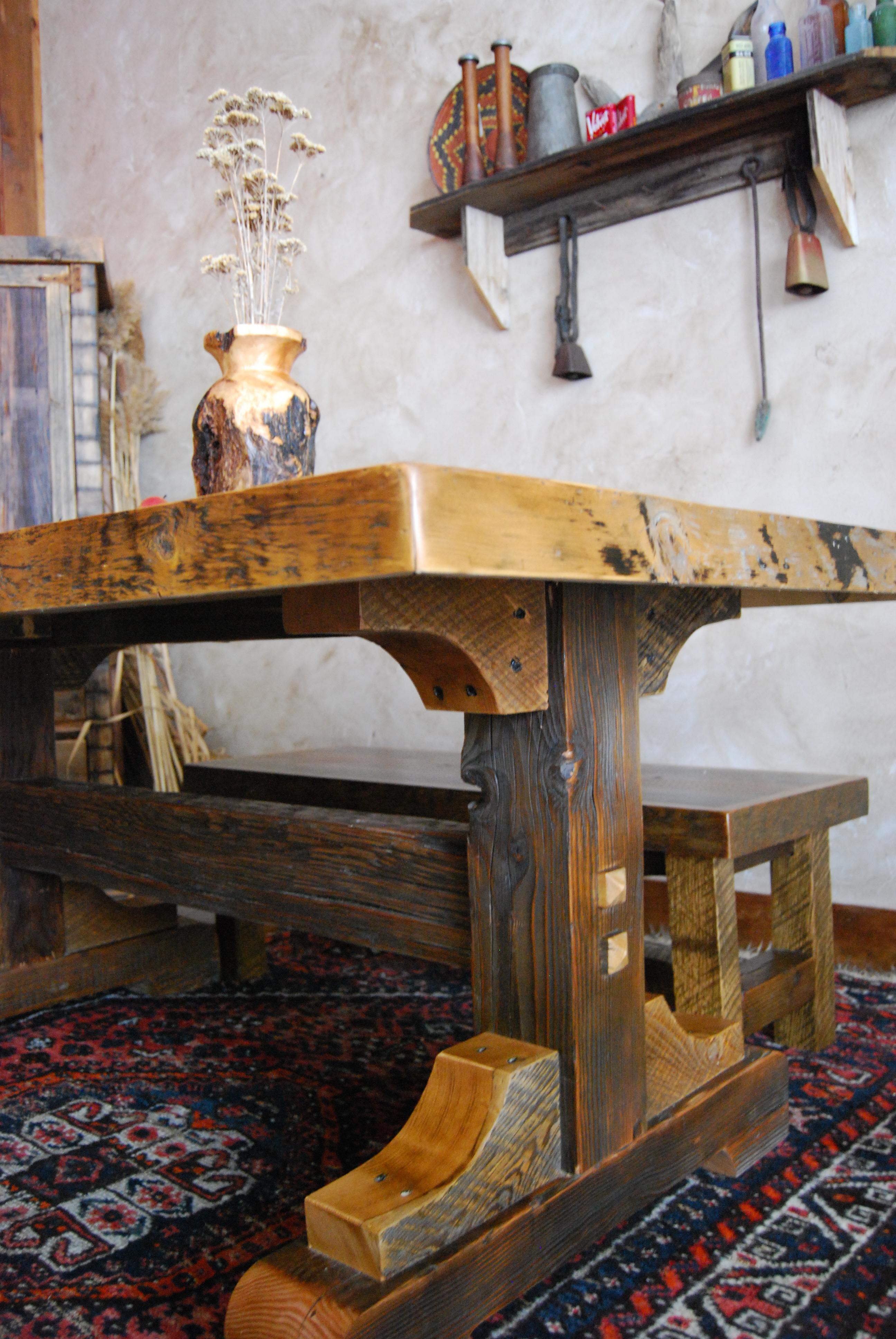Good Black Mountain Trestle Base Dining Table