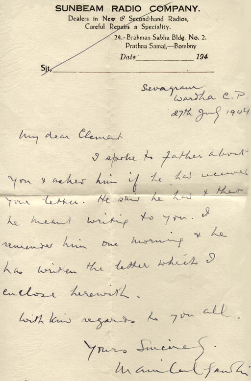 Handwritten cover letter from Manilal Gandhi to Clement Doke about his father MK Gandhis