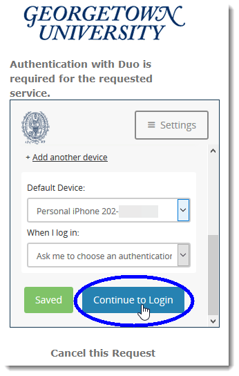 Adding a Device to Your Duo Account | University Information Services | Georgetown University