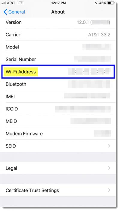 MAC Address displayed next to 'Wi-Fi Address'