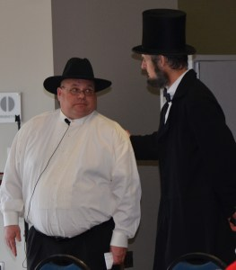 President Lincoln thanked David B. Henderson (Chad Cook) for his special appearance at Fayette Campus Tuesday, February 28.