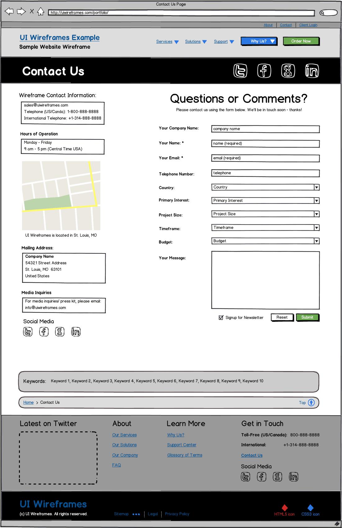 Responsive Website Wireframes