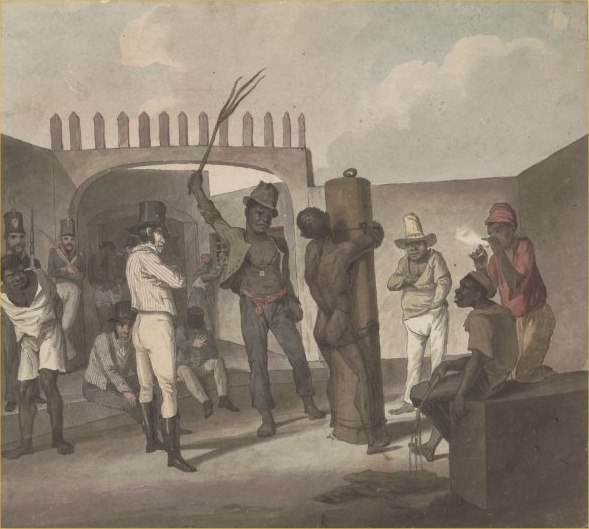 Punishing slaves at Calabouco, in Rio de Janeiro, c. 1822