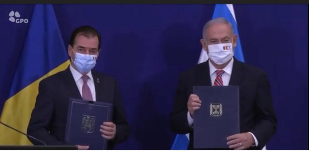 Első hivatalos izraeli útján Benjamin Netanjahu Jeruzsálemben üdvözölte Ludovic Orban román miniszterelnököt, aki nem tett említést a főváros státuszával kapcsolatban