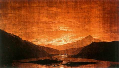 Caspar David Friedrich: Bergige Flusslandschaft (1830–1835)