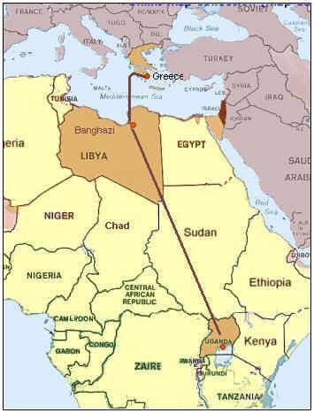 Entebbe az eltérített gép útvonala