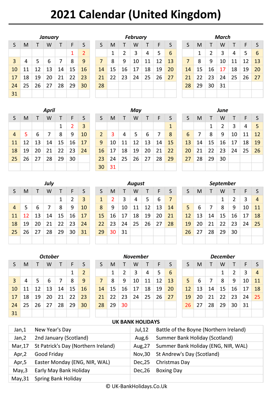 In our online calendar section, monthly calendar and yearly calendar can be generated with some very useful options. Download 2021 Uk Calendar Printable with Holidays ...