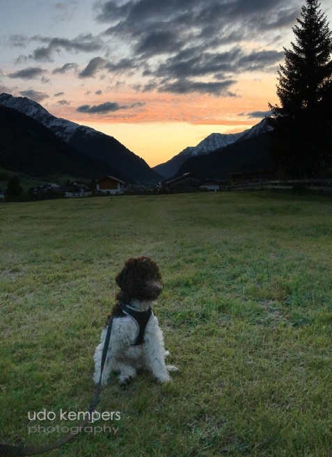 Adones erster Sonnenaufgang in den Alpen