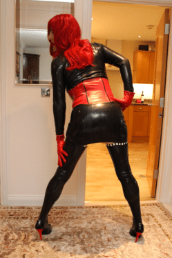 Latex Dress and Red Wig