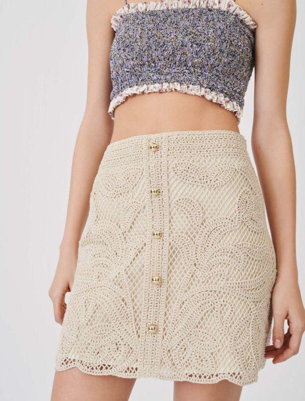 Macramé-style straight-cut skirt : Skirts & Shorts color Beige
