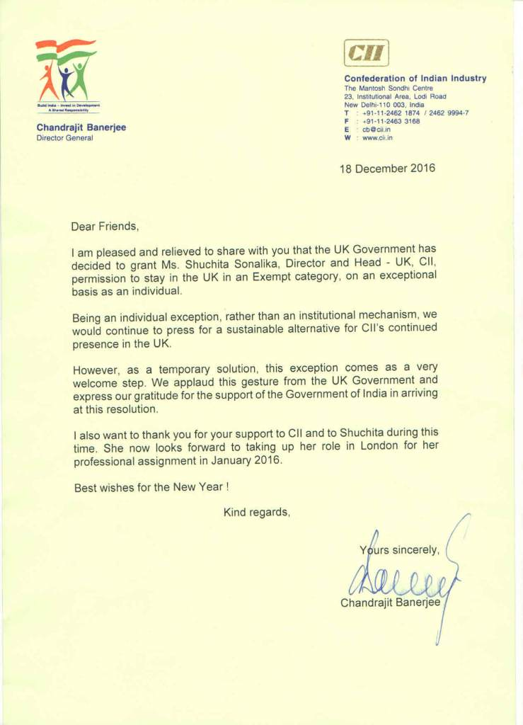 DG_CII_Letter- Shuchita Sonalika Director and Head UK Confederation of Indian Industry CII