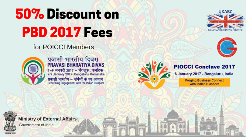 Pravasi Bharatiya Diwas 2017 – 50% discount on registration and a great deal for stay at a 5-star hotel – UKABC Promotion with PIOCCI