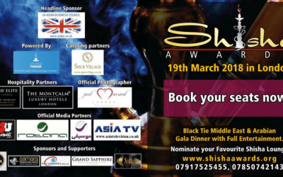 Invitation and announcement of Sponsorship Opportunities Shisha Awards 2018, Black Tie Middle East & Arabian Gala Dinner with Full Entertainment – UKABC Headline Sponsor – 19th March 2018