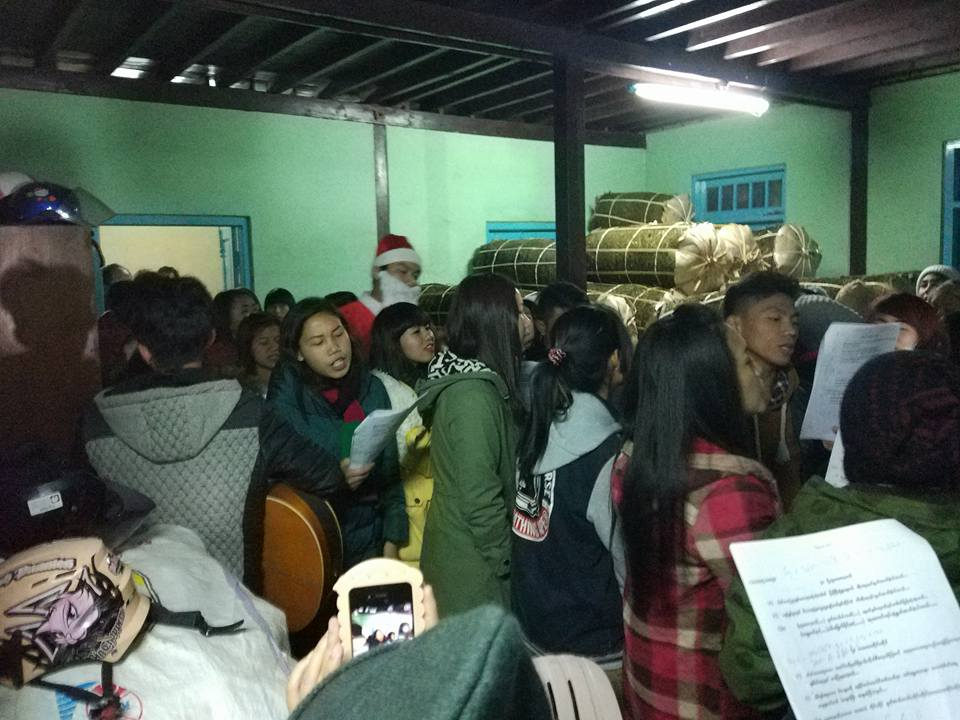Some S.A.G. students were caroling to some other homes