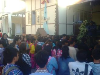 S.A.G. students gathered outside to surprise Fr. Paul for his birthday last December 27