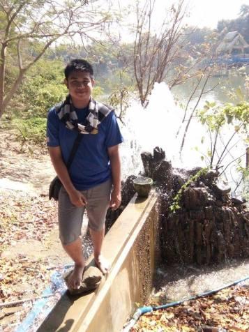 I'm standing near the waterfall