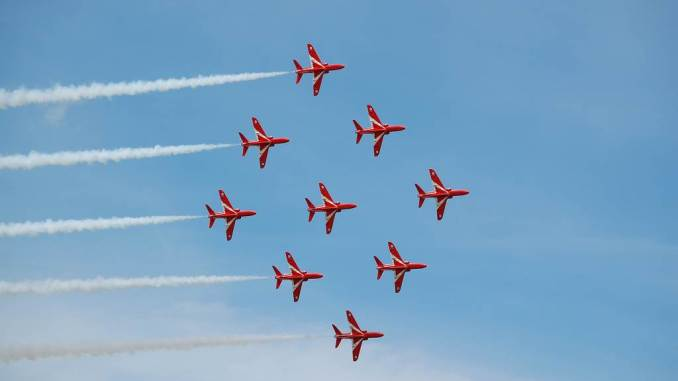 The Red Arrows in Diamond Nine (Image: Aviation Media Agency)