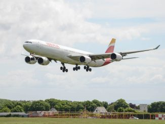 Iberia Airbus A340-600 landing at Cardiff Airport