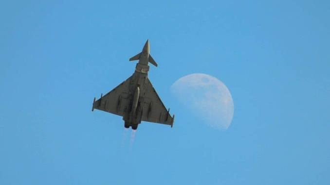 Typhoon shooting the moon over Swansea Bay (Image: Aviation Media Agency)