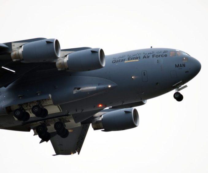 C17 Globemaster III A7-MAN landing at Cardiff Airport (Image: Philip Dawson)