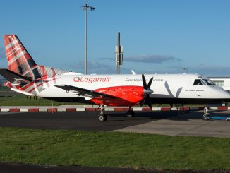 Loganair shows off new corporate livery on a Saab 340