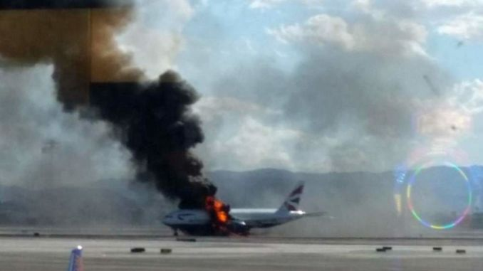 BA2276 on fire in Las Vegas (Image: Reggie Faer)