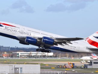 British Airways Airbus A380 G-XLEH lifts off from Heathrow's Runway 27L
