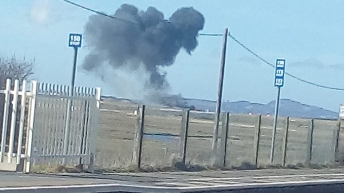 The scene shortly after the crash at RAF Valley