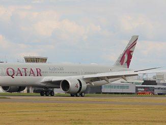 Qatar A350 lands at Cardiff Airport (John Moore)