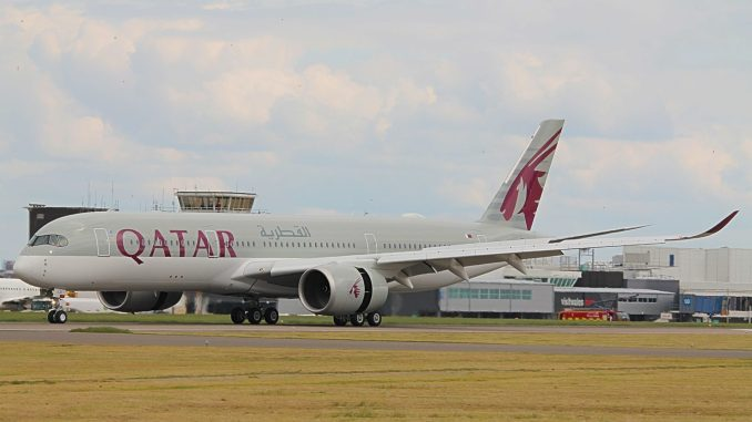 Qatar A350 lands at Cardiff Airport (John Moore)