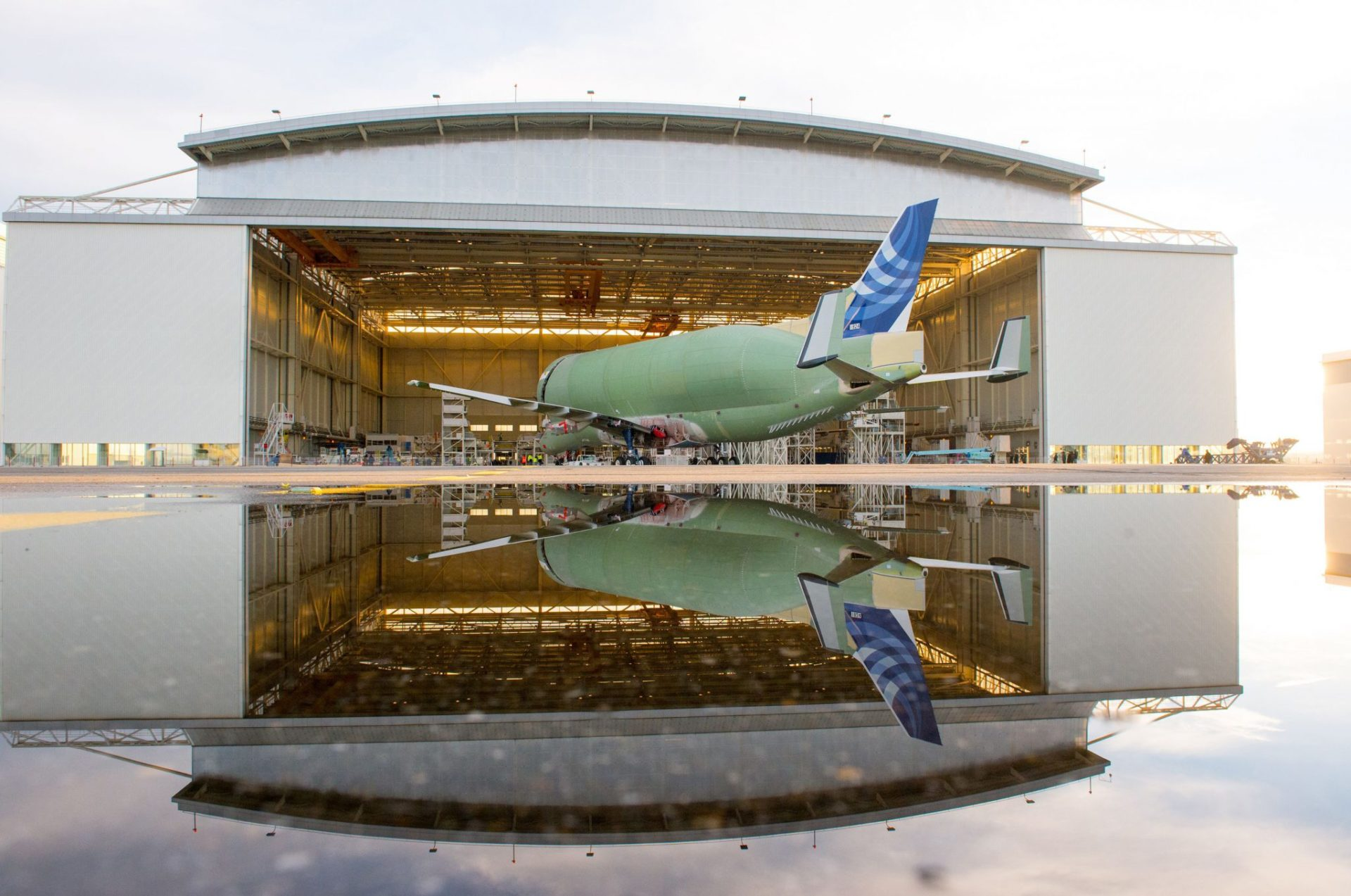 BelugaXL No1 rolls out of the hangar (Image: P.Masclet/Airbus)