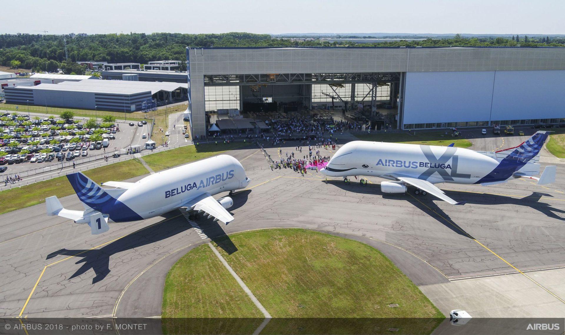 Airbus Beluga next to Airbus Beluga XL (Image: F.Montet/Airbus)