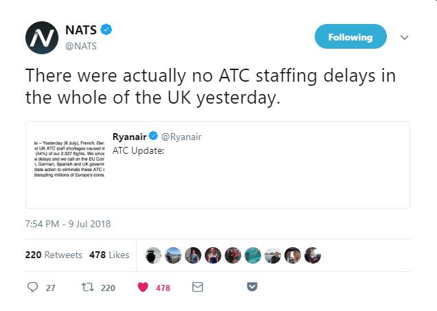 NATS hits back at Ryanair