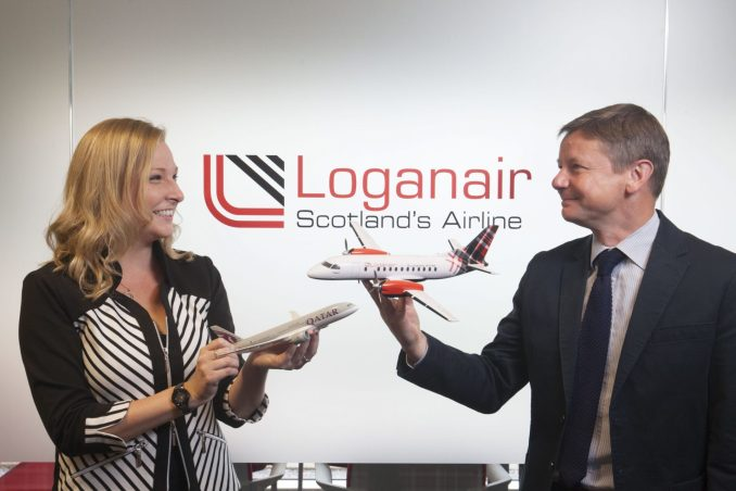 Roy Bogle, Loganair's Director of Revenue and Scheduling and Jenna Donaldson, Qatar Airway's Account Manager