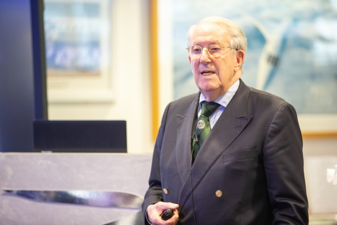 Captain Hugh Dibley FRAeS, a former BOAC Comet 4 Navigator and later Boeing pilot, who gave a talk about the iconic British aircraft at the Speedbird Centre in Waterside on 03 October 2018 (Picture by Nick Morrish/British Airways)