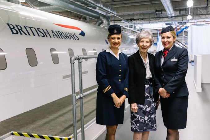 Peggy Thorne at the British Airways Global Learning Academy, with Sophie Picton (L) and Nadine Wood (R)