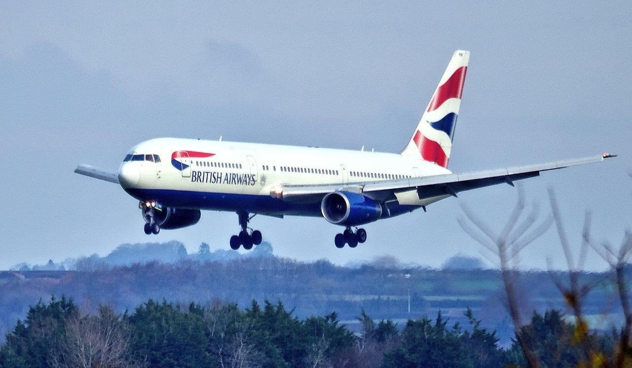 One of the two British Airways Boeing 767 on approach to St Athan earlier today (Image: Philip Dawson)