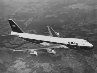 A Boeing 747 long-range wide-body four engined commercial jet airliner for the BOAC - British Overseas Airways Corporation flying above the United Kingdom on 7 April 1971. (Photo by Fox Photos/Hulton Archive/Getty Images).